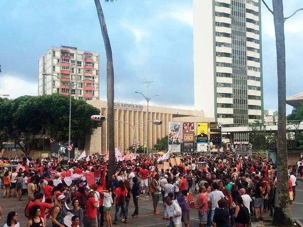 Protesto Fora Temer em Salvador (Foto: Alan Tiago Alves/G1)
