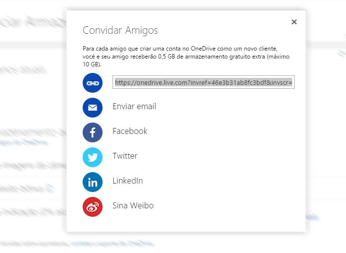 OneDrive permite compartilhar link de indicação com facilidade (Foto: Reprodução/OneDrive)