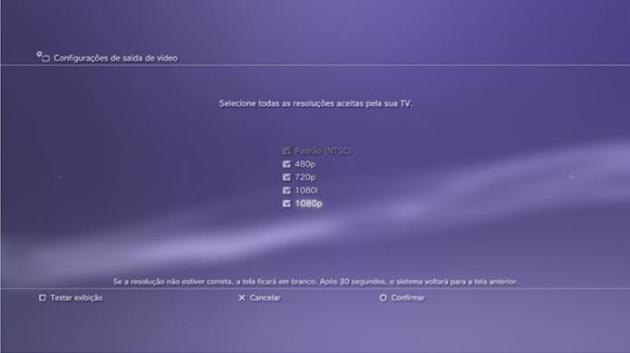 Configurações de Resolução do PS3 (Foto: Divulgação).