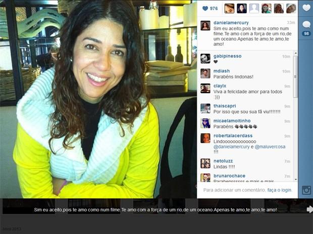 Declaração de Malu para Daniela no Instagram (Foto: Reprodução)