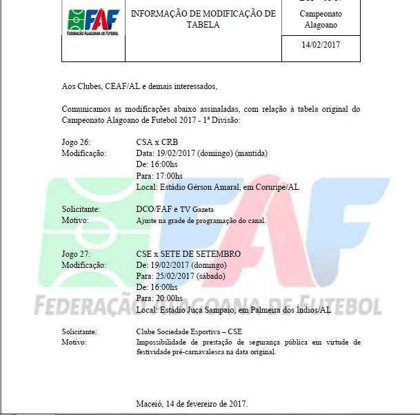 FAF divulga mudanças na 6ª rodada do Campeonato Alagoano (Foto: Divulgação / FAF)