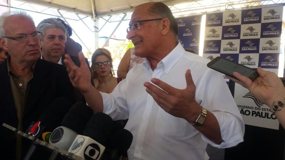 Governador de São Paulo, Geraldo Alckmin (PSDB) visita Ribeirão Bonito (Foto: Rodrigo Facundes/EPTV)