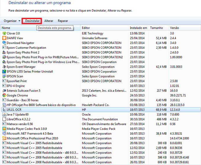Programas instalados no Windows (Foto: Reprodução/Marcela Vaz)