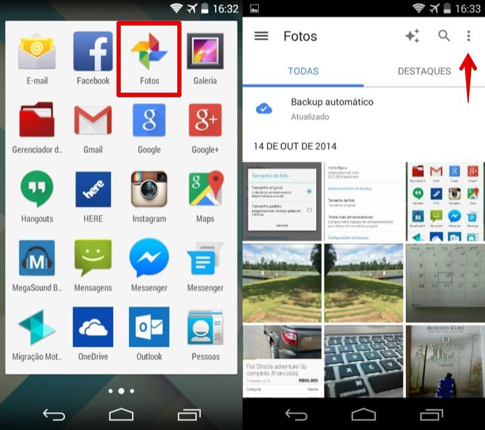 Abra o app de Fotos e acesse o menu do aplicativo (Foto: Reprodução/Helito Bijora)