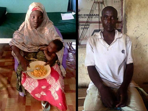 Imagens divulgadas pelo Exército da Nigéria mostram Amina Ali, menina sequestrada pelo Boko Haram há doi anos, com sua filha de 4 meses e Mohammed Hayatu, suposto membro do grupo extremista que diz ser seu marido; os três foram encontrados nesta quarta-fe (Foto: STRINGER / AFP)