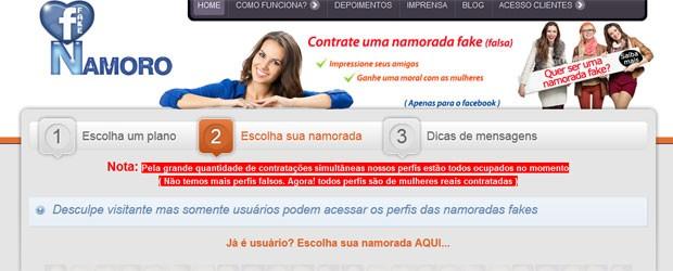 Mulheres contratadas pelo site estão todas ocupadas no momento, diz site (Foto: Reprodução)