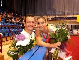 Diego Hypolito em competição com Lais Souza antes do acidente da ex-ginasta (Foto: Divulgação / CBG)
