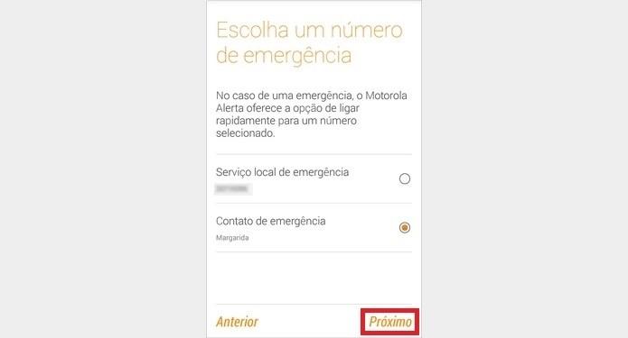 Contato principal de emergência selecionado (Foto: Reprodução/Raquel Freire)