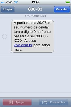 Mensagem de celular já avisa sobre a mudança (Foto: Reprodução)
