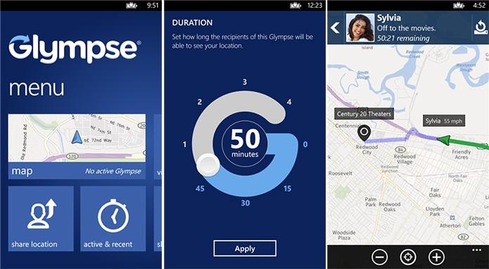 Glympse é um aplicativo para quem deseja compartilhar sua localização sem precisar de login (Foto: Divulgação/Windows Phone Store)