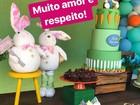 Deborah Secco faz festa de Páscoa em orfanato e leva Maria Flor