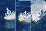 Americano impressiona ao surfar grandes ondas no Hava� de esqui