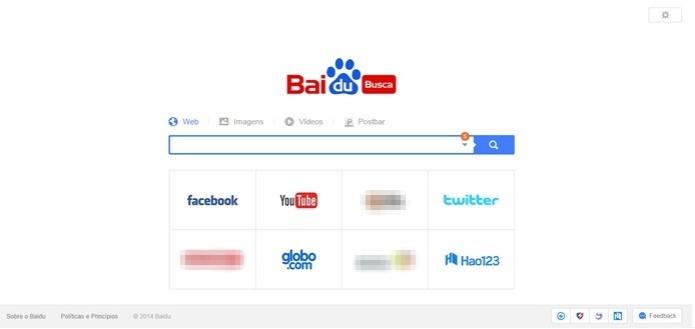 Tela inicial do Baidu, o 'Google chinês'  (Foto: Reprodução/Raquel Freire)