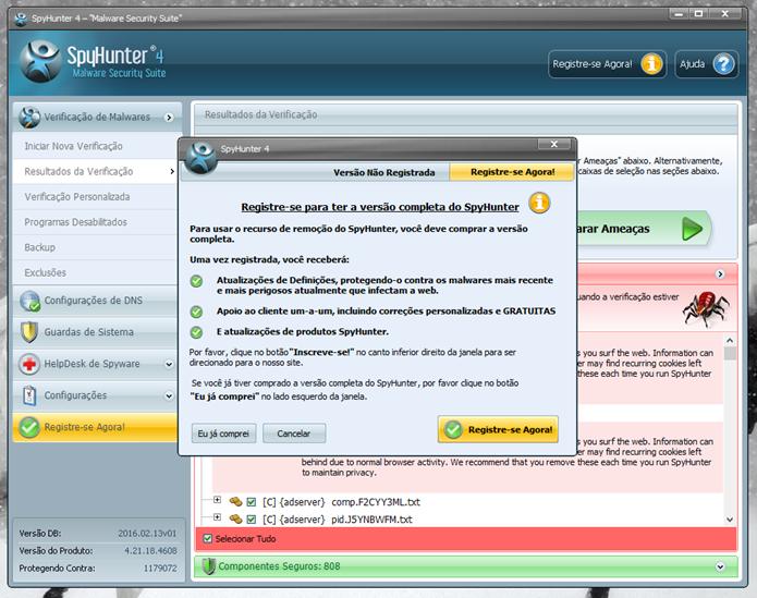 Infelizmente, a remoção de vírus só está disponível na versão paga (Foto: Felipe Alencar/TechTudo)
