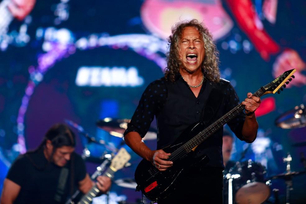 Kirk Hammett, do Metallica, no show do Lollapalooza 2017 (Foto: Marcelo Brandt/G1)