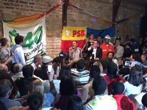 Marina Silva no encontro dos jovens no Tatro Odisséia, Centro do Rio (Foto: Mariucha Machado/ G1)