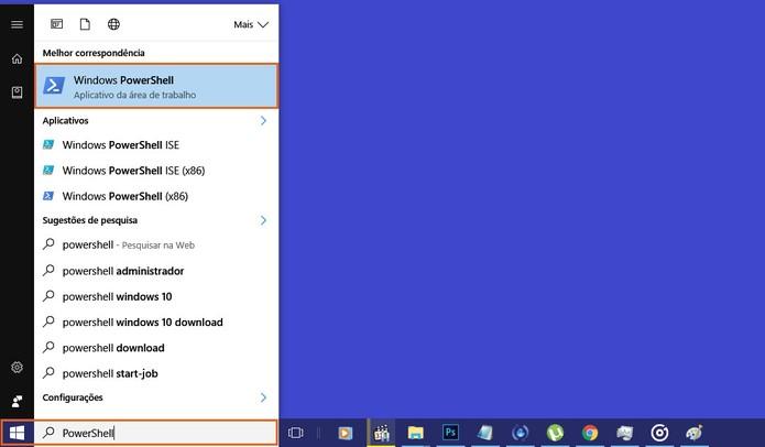 Busque pela ferramenta Windows PowerShell no PC (Foto: Reprodução/Barbara Mannara)
