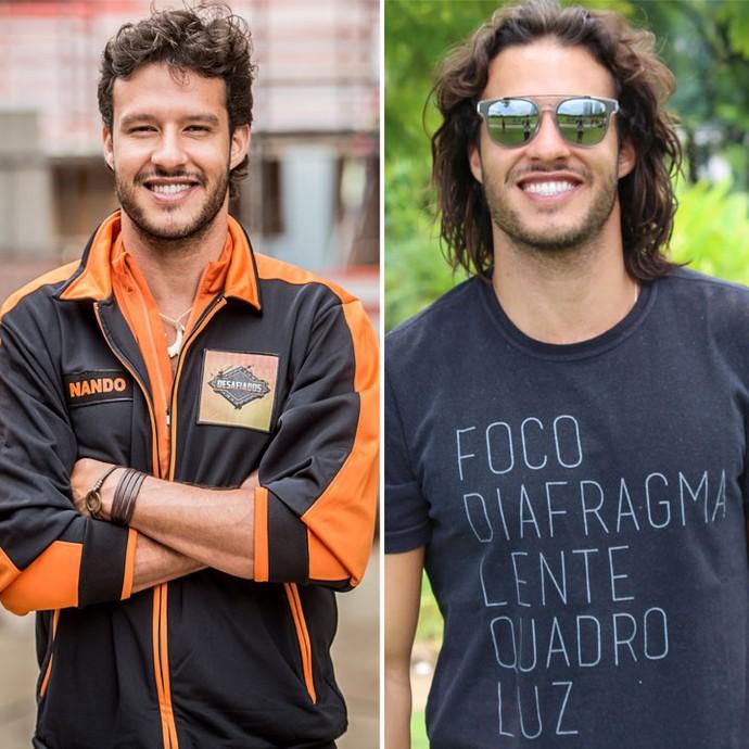 Nando Rodrigues durante participação no quadro 'Desafiados' no Caldeirão (esquerda) e nos bastidores das gravações de Haja Coração (direita) (Foto: João Cotta/Globo e Ariane Ducati/Gshow)