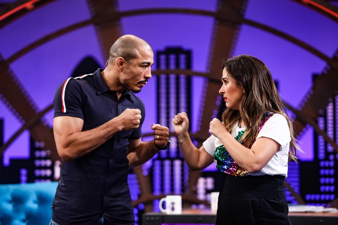 Tat Werneck encarou o campeo mundial, alm de receber o fenmeno jovem e uma das maiores apresentadoras da televiso brasileira no sof do