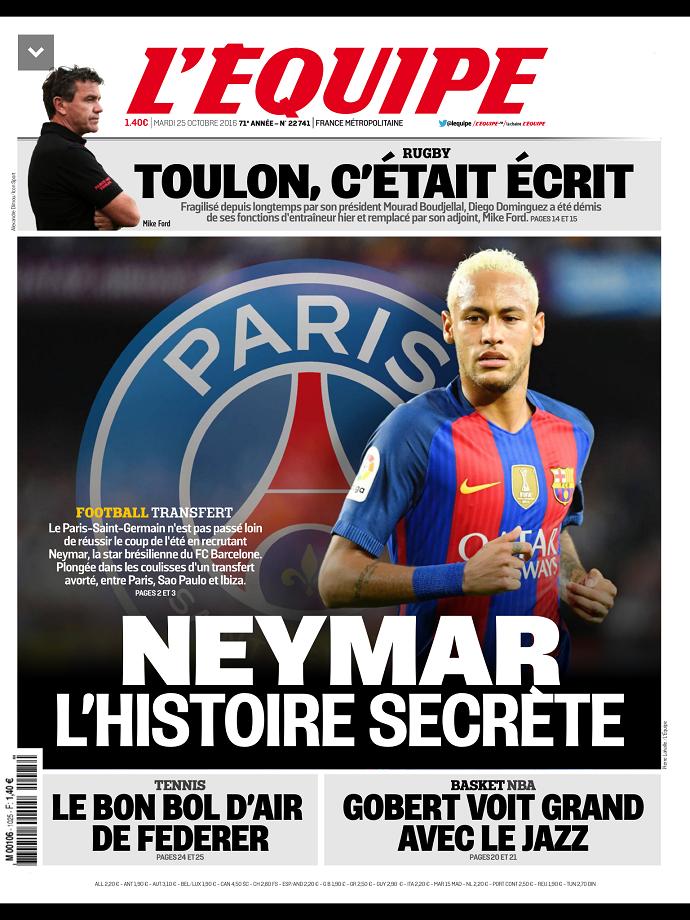 BLOG: Jornal francês põe Neymar na capa e diz que craque quase acertou com PSG