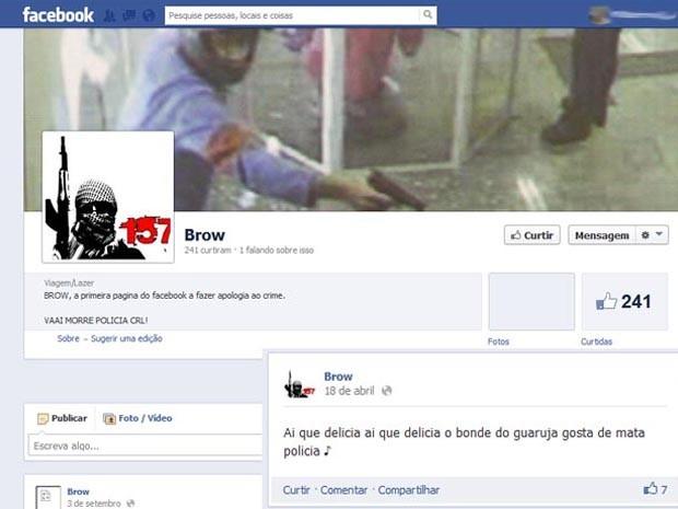 Crimes eram planejados pelo Facebook (Foto: Reprodução / Facebook)