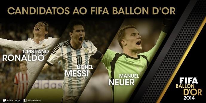 6bdcf69df7 Cristiano Ronaldo e Messi disputarão Bola de Ouro com o alemão Neuer ...