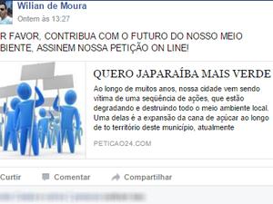Manifesto Cana de Açucar (Foto: Facebook/Reprodução)