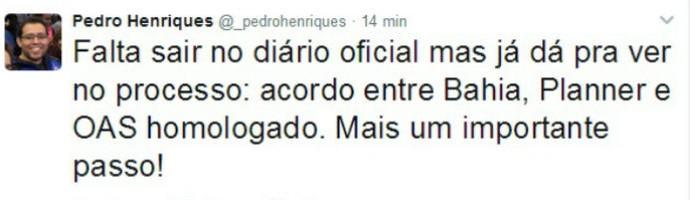 Henriques fala de acordo para recuperar posse de Fazendão e Cidade Tricolor (Foto: Reprodução / Twitter)