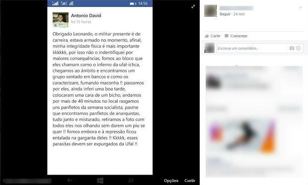 Internauta postou a reprodução de um post em que Antonio David afirma que o militar estava armado (Foto: Reprodução/Facebook)