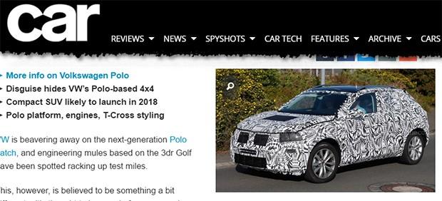 Novo SUV baseado no VW Polo flagrado pela revista CAR (Foto: Reprodução/CAR)