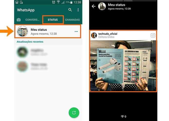 Veja o resultado do post do Instagram no WhatsApp Status (Foto: Reprodução/Barbara Mannara)