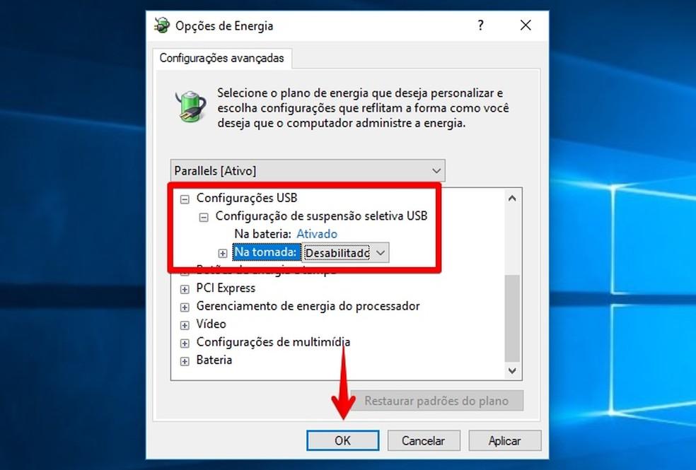 Desativando a suspensão seletiva de USB (Foto: Reprodução/Helito Bijora)