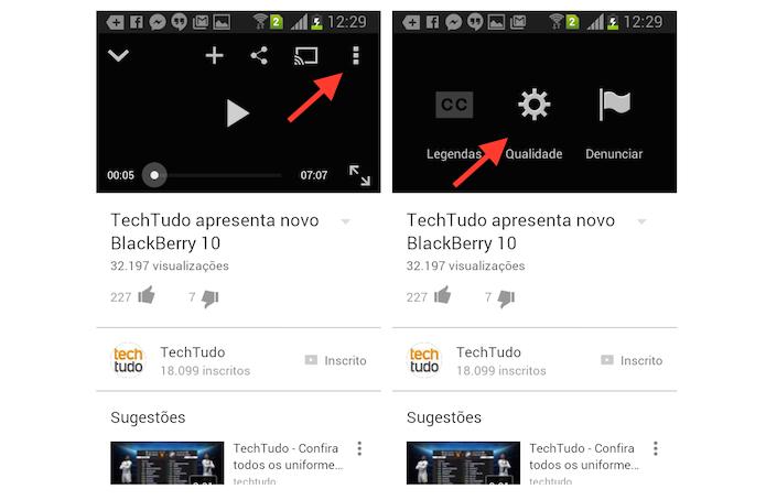 Acessando as configurações de qualidade de um vídeo do YouTube em um dispositivo Android (Foto: Reprodução/Marvin Costa)