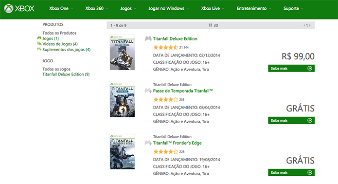 Escolha o Titanfall para Xbox 360 na loja da Xbox Live (Foto: Reprodução/Murilo Molina)