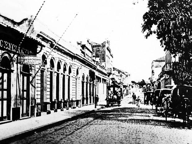 Rua Barão de Jaguara na época em que a epidemia atingiu a cidade  (Foto: Museu de Imagem e Som de Campinas)