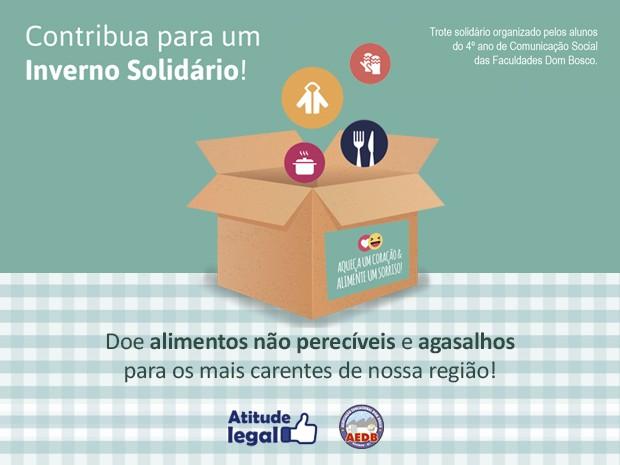 Inverno Solidário estimula doações de alimentos e agasalhos (Foto: divulgação)