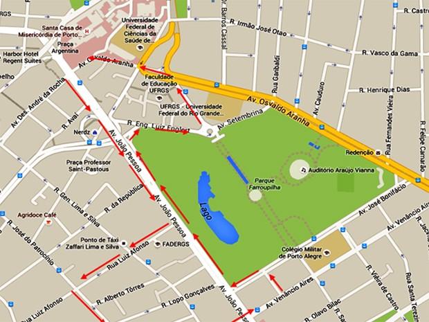 Mapa de uma das zonas que terá patrulha da Brigada Militar (Foto: Reprodução/Brigada Militar)