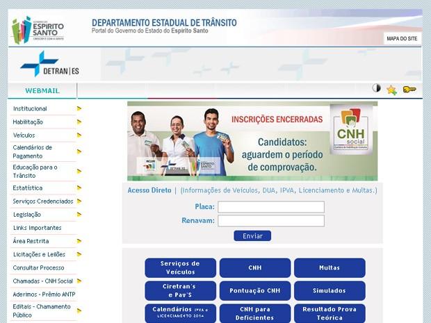 Site do Detran-ES tem lista da CNH Social (Foto: Reprodução/ Internet)