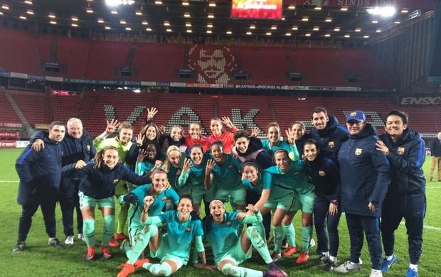 Barcelona comemora classificação na Champions feminina