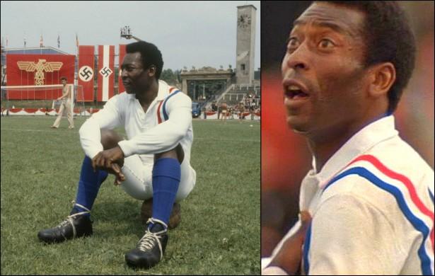 Nem só de futebol e polêmicas vive Pelé. Edson Arantes do Nascimento também estrelou filmes gringos, como 'Fuga Para a Vitória' (1981), com Sylvester Stallone e Michael Caine, 'A Vitória do Mais Fraco' (1983) e 'Hotshot' (1987) (Foto: Reprodução)