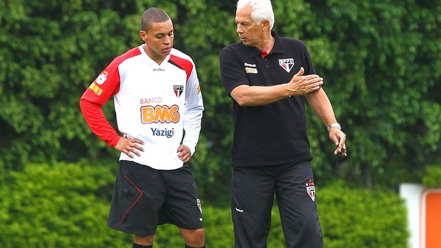 Leão e Rafinha no treino do São Paulo (Foto: Luiz Pires / VIPCOMM)