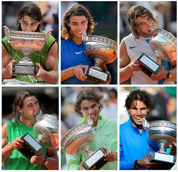 Rafael Nadal tênis Roland Garros troféus (Foto: AFP)