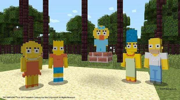 Os Simpsons dentro do mundo quadrado de 'Minecraft' (Foto: Divulgação/Microsoft)