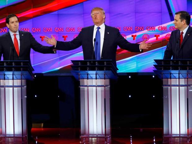 TV promoveu debate entre os candidatos republicanos. Na imagem estão Ted Cruz, Marco Rubio e Donald Trump (Foto: Mike Pedra / Reuters)