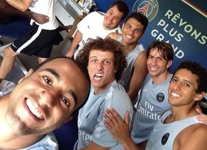 David Luiz e os colegas no PSG (Foto: Instagram)