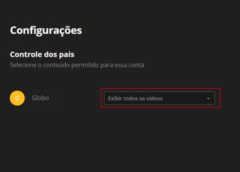Controle de Pais - Canais Globo (Foto: Canais Globo)