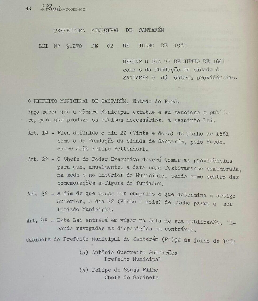 Decreto que estabeleceu 22 de junho como a data de fundação de Santarém  (Foto: Divulgação/ Baú Mocorongo)