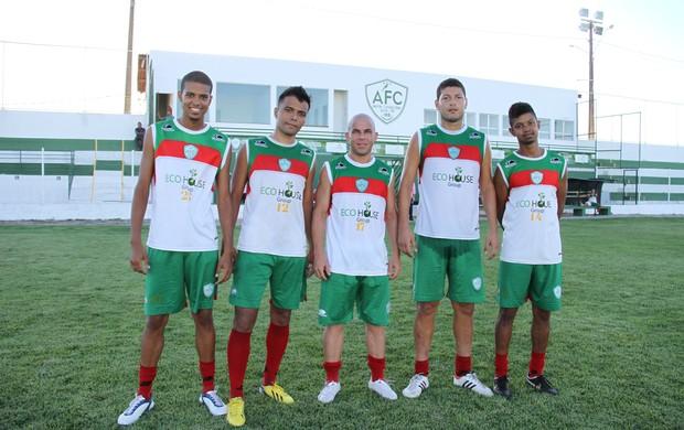 Índio, Gilberto Matuto, Marcone e Vitor Lessa são os novos contratados do Alecrim (Foto: Gabriel Peres/Divulgação)