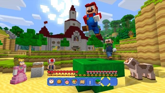 Super Mario Bros. traz mundo e roupas exclusivas para Minecraft: Wii U Edition (Foto: Reprodução/Game Informer)