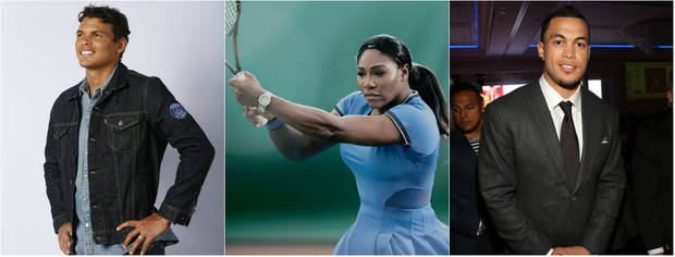 Thiago Silva,  Serena Williams e Giancarlo Stanton foram os atletlas que mais apareceram em comerciais na TV aberta em São Paulo e no Rio de Janeiro, entre 5 e 21 de agosto (Foto: Getty Image e Reprodução do Instagram)
